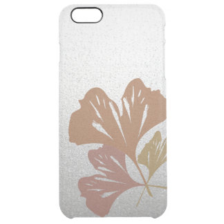 Bronze Ginkgo Leaves on Silver Effect Pattern Clear iPhone 6 Plus Case