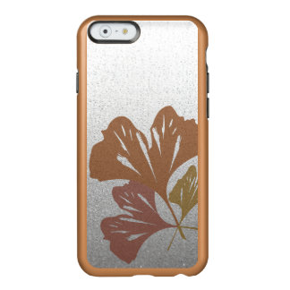 Bronze Ginkgo Leaves on Silver Effect Pattern Incipio Feather Shine iPhone 6 Case