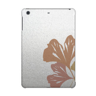 Bronze Ginkgo Leaves on Silver Effect Pattern iPad Mini Cover