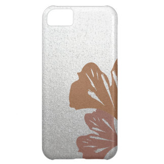 Bronze Ginkgo Leaves on Silver Effect Pattern iPhone 5C Case