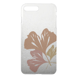 Bronze Ginkgo Leaves on Silver Effect Pattern iPhone 7 Plus Case