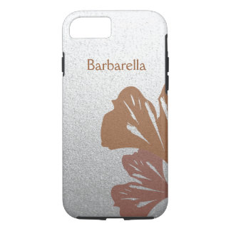 Bronze Ginkgo Leaves on Silver Effect Pattern iPhone 8/7 Case