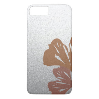 Bronze Ginkgo Leaves on Silver Effect Pattern iPhone 8 Plus/7 Plus Case