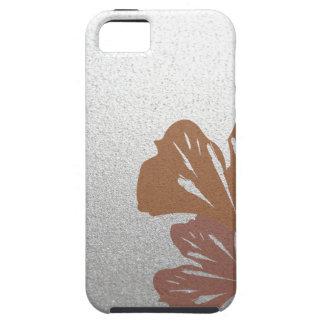 Bronze Ginkgo Leaves on Silver Effect Pattern iPhone SE/5/5s Case