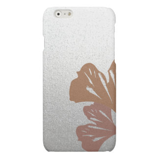 Bronze Ginkgo Leaves on Silver Effect Pattern Matte iPhone 6 Case