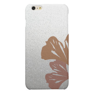 Bronze Ginkgo Leaves on Silver Effect Pattern Matte iPhone 6 Plus Case
