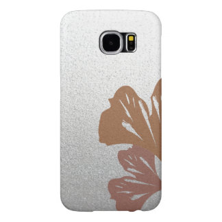 Bronze Ginkgo Leaves on Silver Effect Pattern Samsung Galaxy S6 Case