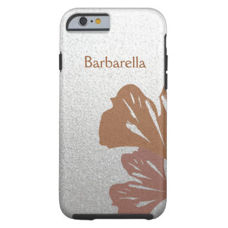 Bronze Ginkgo Leaves on Silver Effect Pattern Tough iPhone 6 Case