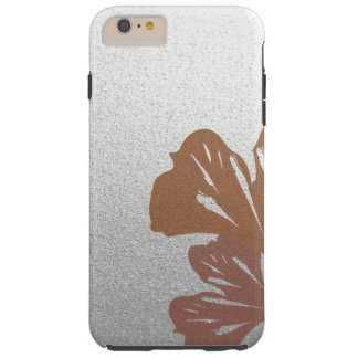 Bronze Ginkgo Leaves on Silver Effect Pattern Tough iPhone 6 Plus Case
