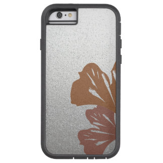 Bronze Ginkgo Leaves on Silver Effect Pattern Tough Xtreme iPhone 6 Case