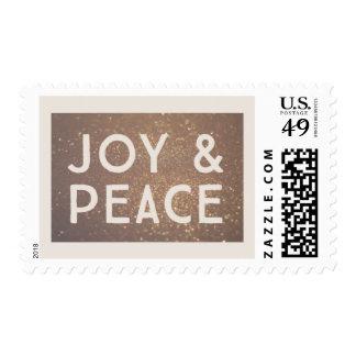 Bronze Glitter Joy & Peace Christmas Postage