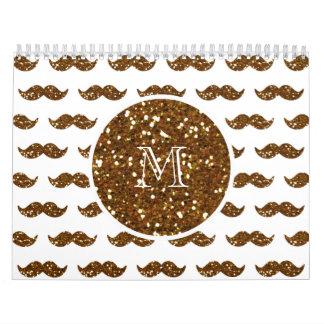 Bronze Glitter Mustache Pattern Your Monogram Wall Calendar