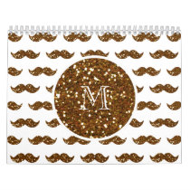 Bronze Glitter Mustache Pattern Your Monogram Calendar