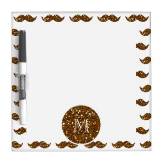 Bronze Glitter Mustache Pattern Your Monogram Dry Erase Boards