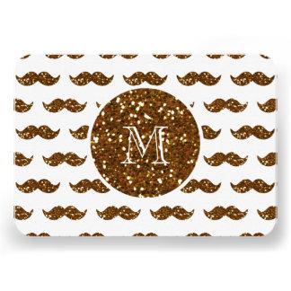 Bronze Glitter Mustache Pattern Your Monogram Custom Announcements