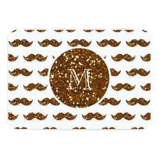 Bronze Glitter Mustache Pattern Your Monogram 3.5x5 Paper Invitation Card