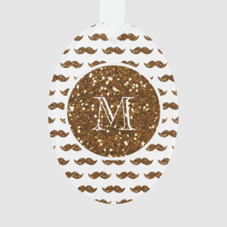 Bronze Glitter Mustache Pattern Your Monogram Ornament