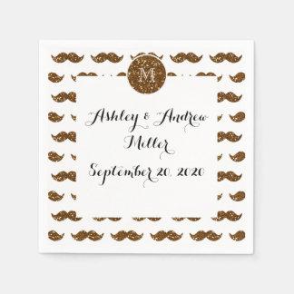 Bronze Glitter Mustache Pattern Your Monogram Paper Napkin