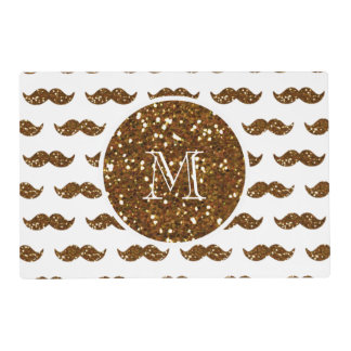 Bronze Glitter Mustache Pattern Your Monogram Placemat