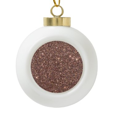 Beach Themed Bronze Glitter Sparkles Ceramic Ball Christmas Ornament