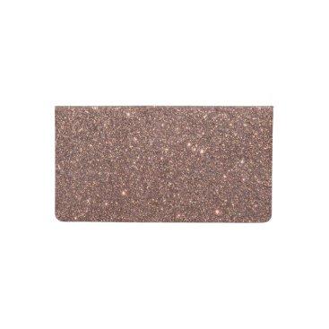 Beach Themed Bronze Glitter Sparkles Checkbook Cover
