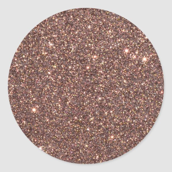 Bronze Glitter Sparkles Classic Round Sticker