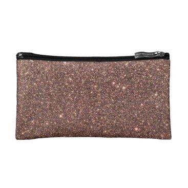 Beach Themed Bronze Glitter Sparkles Cosmetic Bag