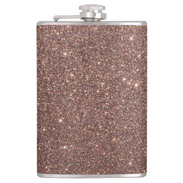Beach Themed Bronze Glitter Sparkles Flask