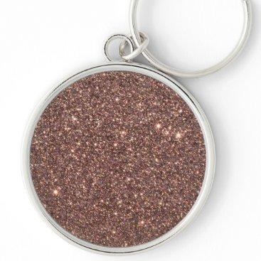 Beach Themed Bronze Glitter Sparkles Keychain