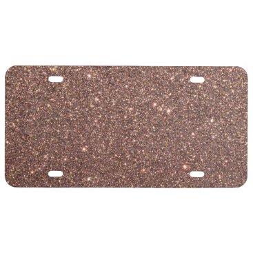 Beach Themed Bronze Glitter Sparkles License Plate