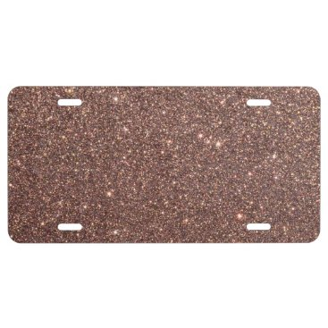 Beach Themed Bronze Glitter Sparkles License Plate