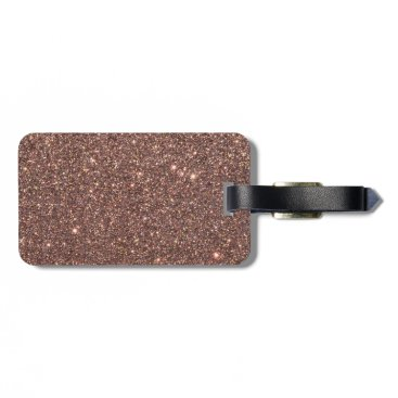 Beach Themed Bronze Glitter Sparkles Luggage Tag