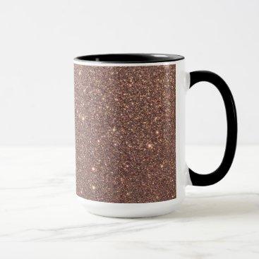 Beach Themed Bronze Glitter Sparkles Mug