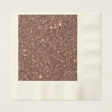 Beach Themed Bronze Glitter Sparkles Paper Napkin