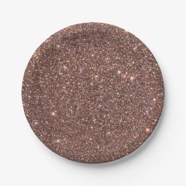 Beach Themed Bronze Glitter Sparkles Paper Plate