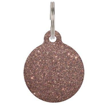 Beach Themed Bronze Glitter Sparkles Pet ID Tag