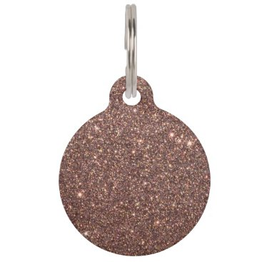 Beach Themed Bronze Glitter Sparkles Pet Name Tag