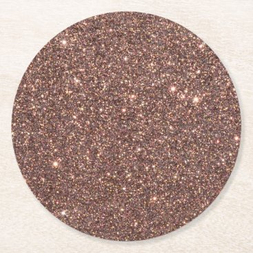 Beach Themed Bronze Glitter Sparkles Round Paper Coaster