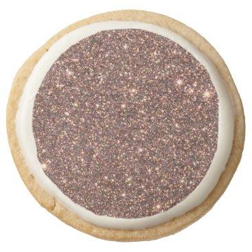 Beach Themed Bronze Glitter Sparkles Round Shortbread Cookie
