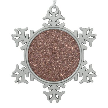 Beach Themed Bronze Glitter Sparkles Snowflake Pewter Christmas Ornament