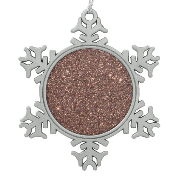 Bronze Glitter Sparkles Snowflake Pewter Christmas Ornament
