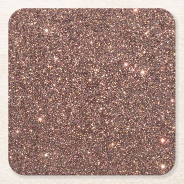 Beach Themed Bronze Glitter Sparkles Square Paper Coaster