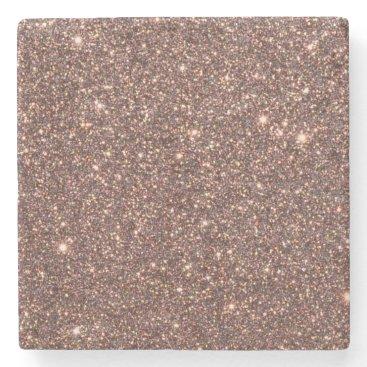 Beach Themed Bronze Glitter Sparkles Stone Coaster