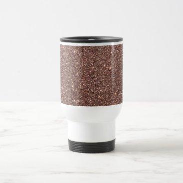 Beach Themed Bronze Glitter Sparkles Travel Mug