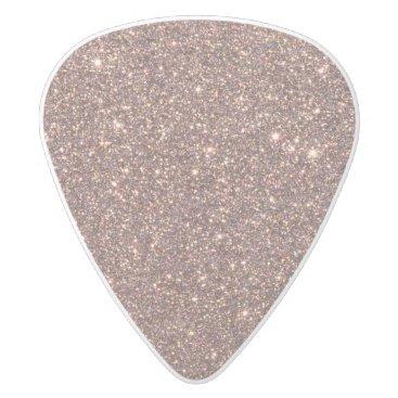 Beach Themed Bronze Glitter Sparkles White Delrin Guitar Pick