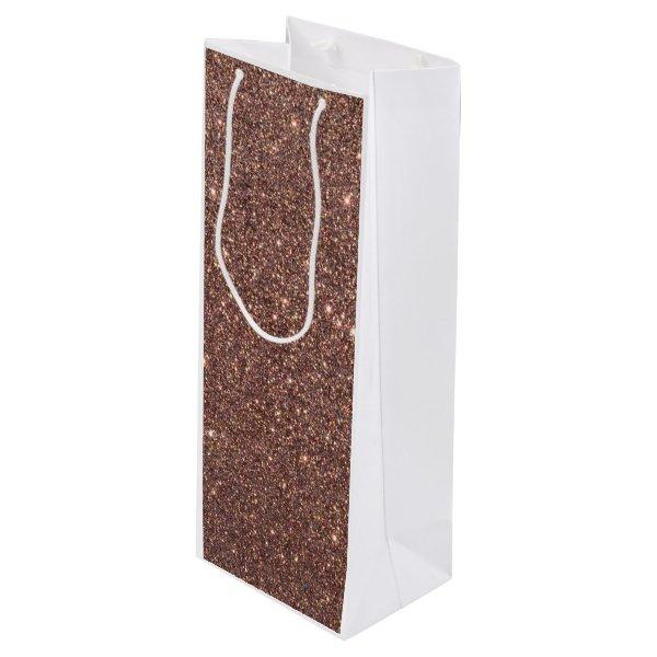 Bronze Glitter Sparkles Wine Gift Bag