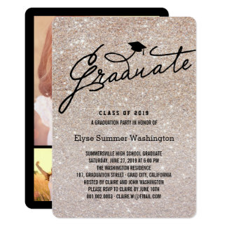 Bronze Glitter Stylish Graduate Grad Party Invite