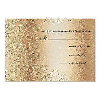 Bronze Gold and Black Swirls Wedding RSVP Card