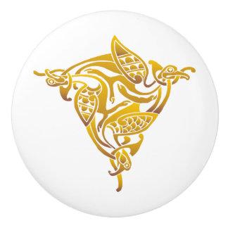 Bronze Gold Celtic Bird Ceramic Knob