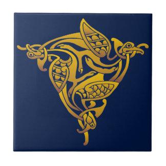Bronze Gold Celtic Bird Ceramic Tile